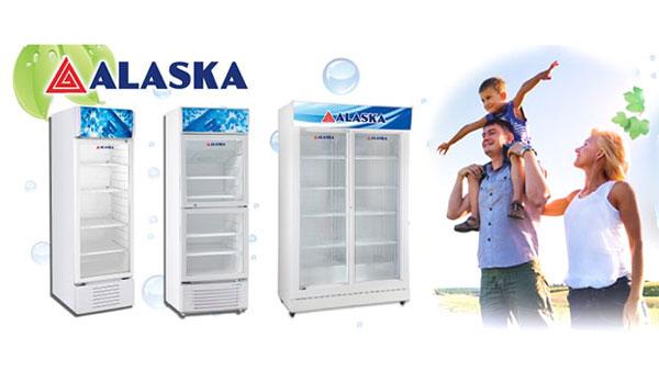 giá tủ mát 2 cánh lùa Alaska